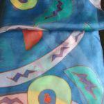 Mexico, szal jedwabny ręcznie malowany