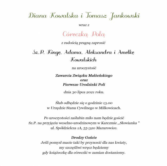 Piękne Zaproszenia 2w1 Ślub i Roczek ZRO 007  - Zaproszenia 2w1 Ślub i Roczek tresć