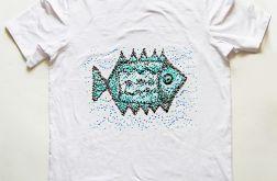 Biała koszulka XL z rybą-Fish 3