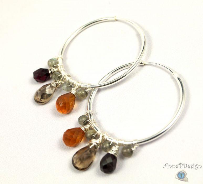 Srebrne kolczyki z kwarcem, cytrynem granatem - srebrne owalne kolczyki z granatem, cytrynem oraz kwarcem
