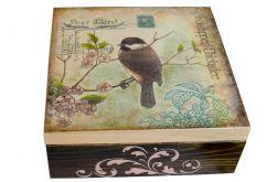 Pudełko drewniane Sikorka