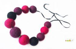 Korale z filcu fioletowo różowe Handmade