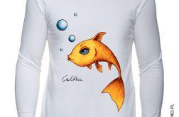 Złota rybka - długi rękaw męska - biała