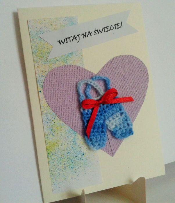 Kartka  z okazji narodzin dla  chłopca - kartka witaj na świecie