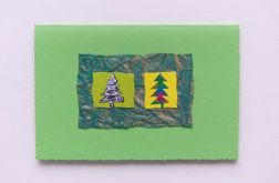 Kartka zielone choinki