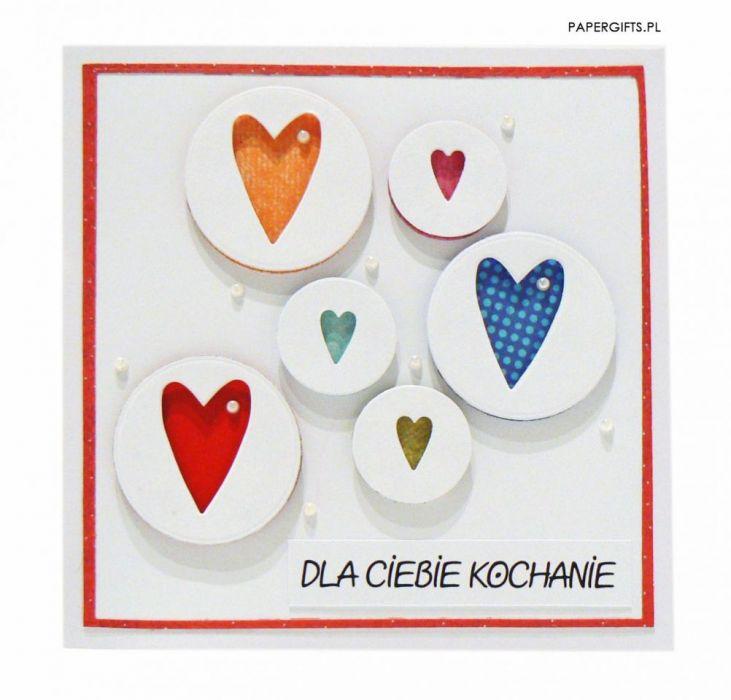 Kartka dla kochanej osoby - serca w bańkach