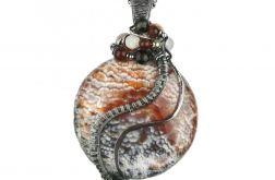 Srebrny duży wisiorek, Agat, inne kamienie