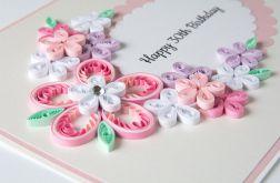 Kartka na 30 urodziny, Quilling, róż