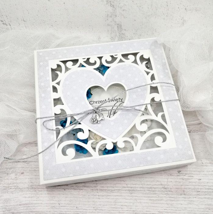 Pamiątka Chrztu dla chłopca w pudełku serce