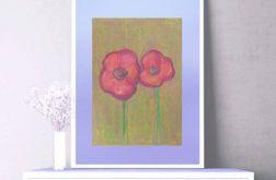 Rysunek z kwiatami na fioletowym tle nr 6