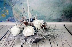 Stroik świąteczny srebrny biały śnieżny