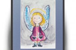 Zimowy aniołek - 5, akwarela