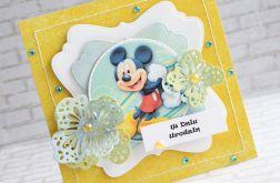Kartka dla dziecka miki z kwiatami