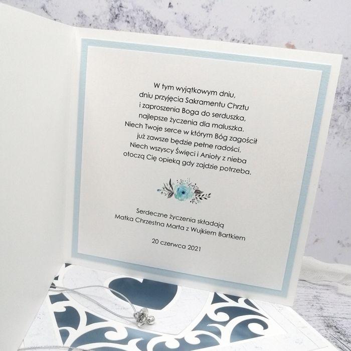 Kartka na chrzest aniołek w pudełku CHS 033  - Kartka na chrzest z aniołkiem w pudełku niebieska środek