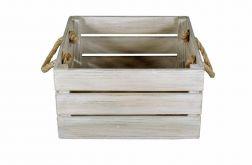 Skrzynka drewniana biało brązowa 30x31x16,5