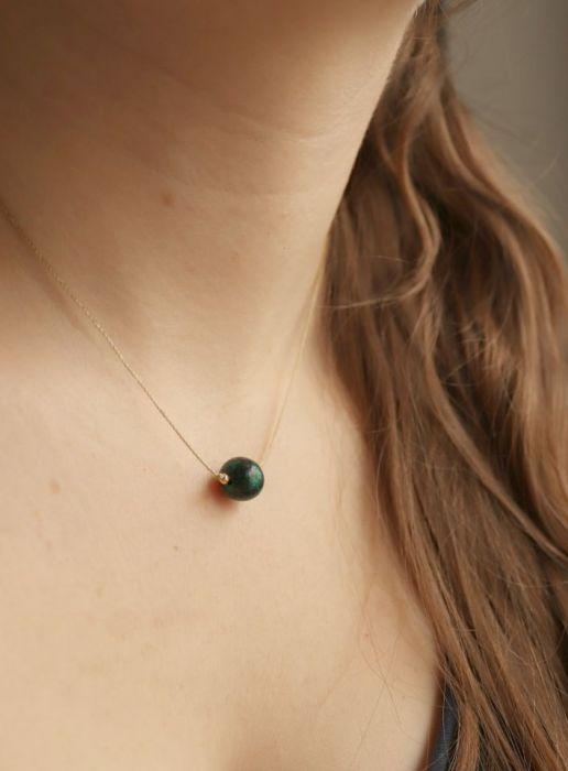 Naszyjnik z zieloną kulą - Zielona kula wisiorek