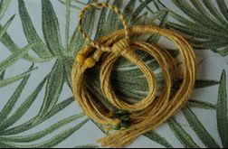 Unikatowy kwietnik makrama juta żółty drewniane koraliki boho