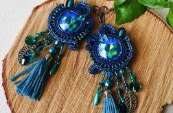 Granatowo-turkusowe kolczyki z kryształami