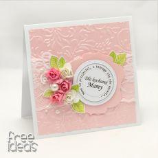 Perłowy róż -Dzień Matki - kartka w pudełku