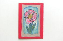 Kartka czerwona  z kwiatkiem 20