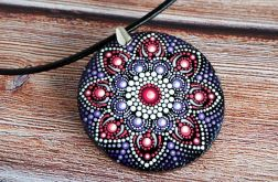 Wisior mandala fioletowa ręcznie malowana