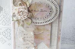 Kartka ślubna z perełkami
