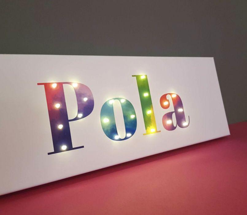 Tęczowy obraz LED z imieniem, lampka nocna