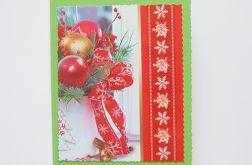 Zielono czerwona kartka świąteczna