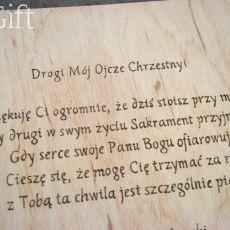 obrazek i kartka 15x15cm dla ojca chrzestnego
