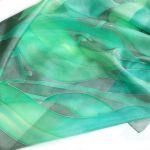 Zielona Roślinna chusta jedwabna
