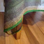 Obrus na stół/ stolik LEN PASY 159 cm x 146 cm - Obrus z koronką