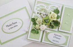 Kartka MŁODEJ PARZE z zielonymi różami #1