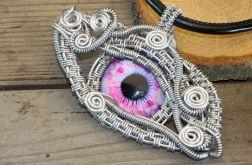 Wisior wire wrapping różowe smocze oko