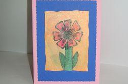Kartka uniwersalna różowa z kwiatkiem 3
