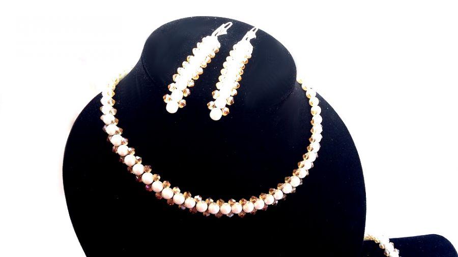 Ślubna biżuteria beading komplet w bieli