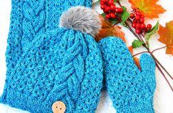 Komplet zimowy turkusowy z cekinami