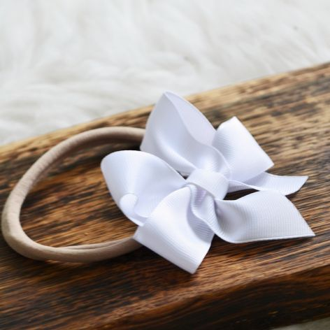 FairyBows opaska duża kokarda CHRZEST biała