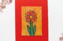 Kartka uniwersalna czerwona z kwiatkiem 6