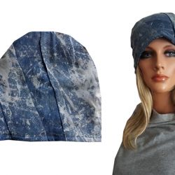 Czapka błękitna, jeansowa