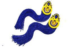 kolczyki długie żółto chabrowe