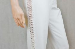 Spodnie białe z wstawkami
