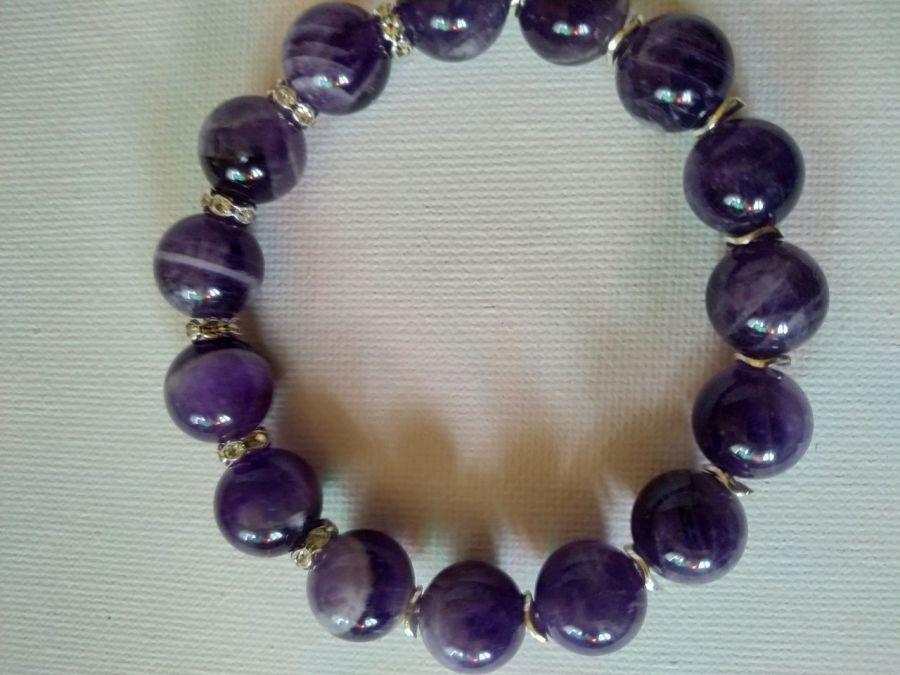 Bransoletka z dużych kryształów ametystów - Bransoletka o pięknej fiołkowej kolorystyce
