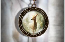 Naszyjnik, medalion - Sarna - antyczny brąz - zdobiony