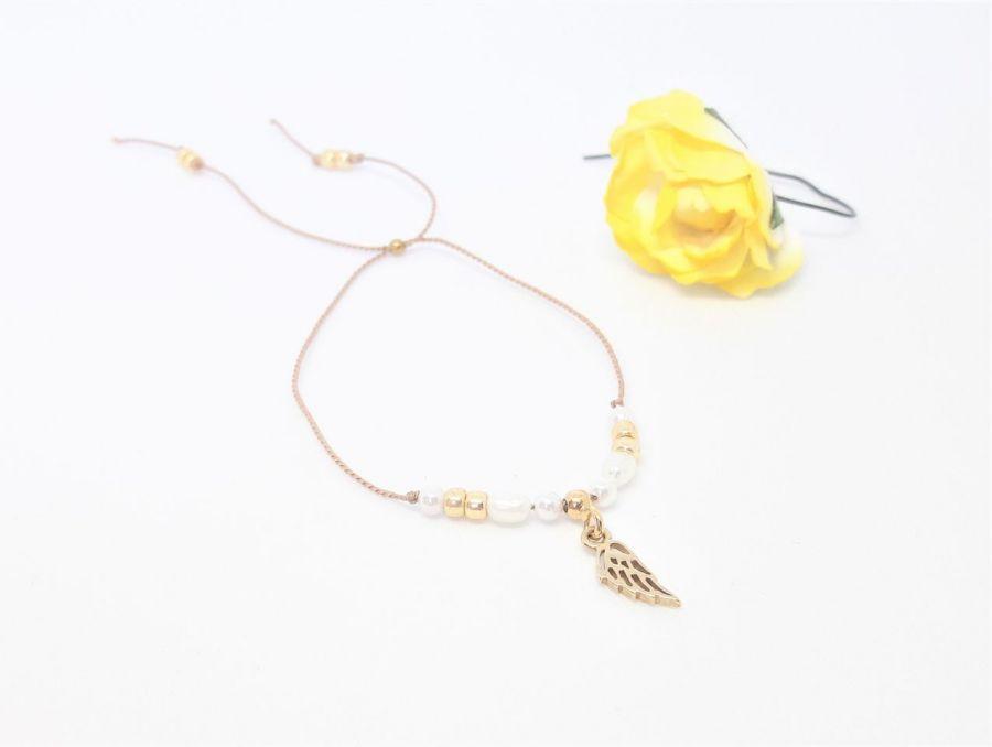 Bransoletka perły i srebro na nitce jedwabnej - Bransoletka handmade rękodzieło na nitce ślubna