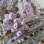 Kartka ślubna kwiaty z foamiranu - Kartka ślubna kwiaty 3