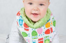 Apaszka, chustka dla dziecka minky - kolorowe sówki