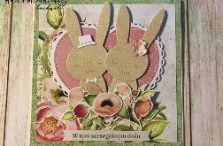 Urocza kartka ślubna z zakochanymi króliczkami