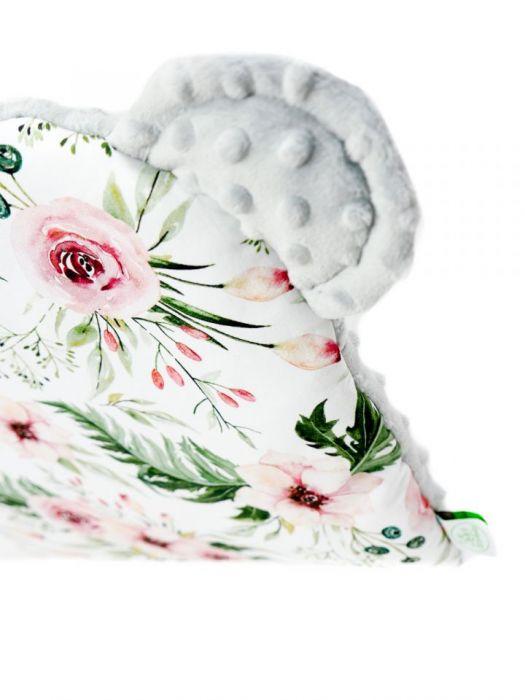 Poduszeczka z uszkami kwiaty - szary