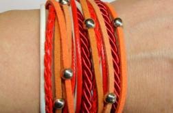 Zawijana czerwono-biało-pomarańczowa kulkami
