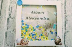 Pastelowy album na chrzest, elementy 3D